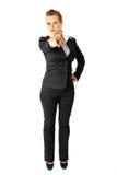 Moderne Geschäftsfrau, die Finger auf Sie zeigt Lizenzfreie Stockfotos