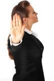 Moderne Geschäftsfrau-Vertretungsendgeste Stockfotos