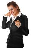 Moderne Geschäftsfrauvertretung bringen mich Geste in Kontakt Stockfotos
