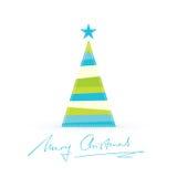 Moderne gestileerde Kerstboom met met de hand geschreven Vrolijke Kerstmis Royalty-vrije Stock Fotografie