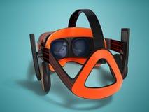 Moderne Gläser der virtuellen Realität mit Kopfhörern für 3d klingen mit Lizenzfreie Stockfotografie