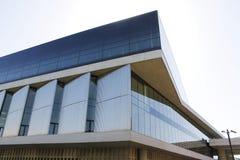 Moderne Glasgebäudearchitektur-Eckenansicht Lizenzfreie Stockfotografie