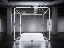 Moderne gloeiende showcase met wit podium het 3d teruggeven Stock Foto's