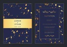Moderne goldene LuxusHochzeit, Einladung, Feier, Gruß, Glückwünsche kardiert Musterhintergrundschablone lizenzfreie stockfotografie