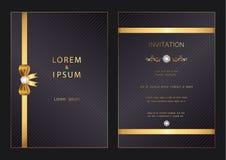 Moderne goldene LuxusHochzeit, Einladung, Feier, Gruß, Glückwünsche kardiert Musterhintergrundschablone mit Diamanten lizenzfreies stockbild