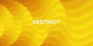 Moderne golvende abstracte achtergrond in gele kleuren stock illustratie