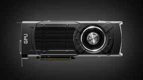 Moderne GPU-gokken grafische kaart op donkere 3d achtergrond stock afbeelding