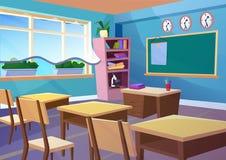Moderne gradiënt vlakke vectorillustratie van het klaslokaalbinnenland van de beeldverhaal leeg school Het concept van de de ruim vector illustratie
