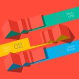 Moderne grafische gestileerde het malplaatjeorigami van de ontwerpinformatie Stock Foto