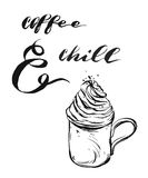 Moderne grafische Illustration des handgemachten Vektors mit Kalligraphiezitat Kaffee und Schauer, Becher und Schlagsahne Design  vektor abbildung