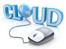 Moderne grijze die computermuis aan de blauwe woordwolk wordt aangesloten Stock Foto