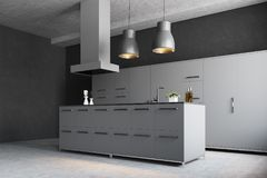 Moderne grijze keukenhoek Stock Foto's