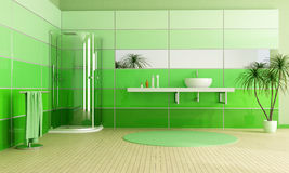Moderne groene badkamers Royalty-vrije Stock Afbeeldingen