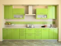 Moderne groene keuken. vector illustratie
