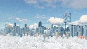 Moderne grote stad met parkstreek bij sneeuwval dag 4K stock footage