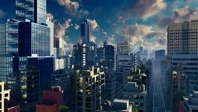 Moderne grote stadshorizon bij de tijdspanne van de zonsopgangtijd stock illustratie