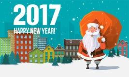 Moderne Grußkarte des neuen Jahres der Art 2017 Lizenzfreie Stockfotos