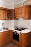 Moderne hölzerne Küche Stockbild