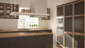 Moderne hölzerne und graue Küche mit Insel, Parkettfischgrätenmusterboden, minimalistic Innenraum der Architektur lizenzfreie stockfotografie