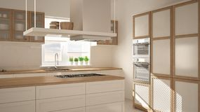 Moderne hölzerne und weiße Küche mit Insel, Parkettfischgrätenmusterboden, minimalistic Innenraum der Architektur stockbilder