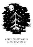 Moderne hand-drawn vectorkaart met abstracte Kerstboom en gelukwens Stock Afbeelding
