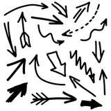 Moderne Hand Getrokken Pijl Vastgestelde Verschillende Uitstekende Stijl Stock Afbeeldingen