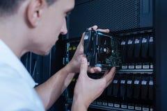 Moderne harde aandrijving die voor gegevensopslag worden gebruikt Stock Foto's