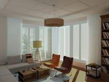 Moderne, heldere, comfortabele woonkamer, 60ste stijl Stock Afbeeldingen