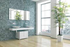 Moderne heldere het binnenland 3D teruggevende illustratie van de bedruimte royalty-vrije illustratie
