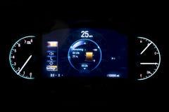 Moderne helle Autokilometerzahl auf schwarzem Hintergrund 25 MPH Lizenzfreies Stockbild