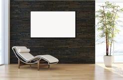 Moderne helle Innenraumwohnung mit Modellplakatrahmen 3D bezüglich Stockfoto