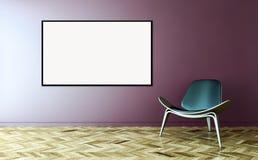 Moderne helle Innenraumwohnung mit Modellplakatrahmen 3D bezüglich Lizenzfreie Stockfotografie