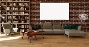 Moderne helle Innenraumwohnung mit Modellplakatrahmen 3D bezüglich Lizenzfreies Stockbild