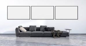Moderne helle Innenraumwohnung mit Spott herauf Plakatrahmen illu stock abbildung