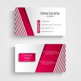 Moderne hellrosa weiße Visitenkarteschablone Lizenzfreie Stockfotos