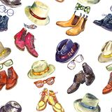Moderne Herren ` s Sammlung: bedecken Sie Zehe, aufgeteilte Zehe, einfache Zehe und Flügelspitze mit Hutvielzahlkombination, Sonn lizenzfreie abbildung