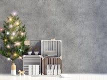 Moderne het glanzen Kerstmis binnenlandse, Skandinavische stijl muurspot omhoog 3D Illustratie royalty-vrije illustratie
