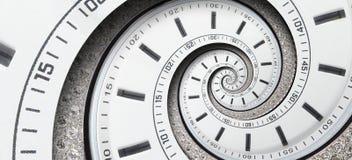 Moderne het horlogewijzers van de diamant witte die klok aan surreal spiraal worden verdraaid Abstracte spiraalvormige fractal De royalty-vrije stock fotografie