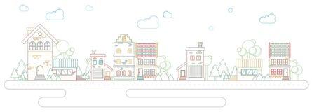 Moderne het overzichtsstraat van de architectuurtendens van gebouwen en huizen in kleur Stock Afbeeldingen