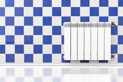 Moderne het Verwarmen Radiator met tegelmuur stock afbeelding