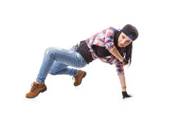 Moderne Hip-Hop-Tanz-Mädchenhaltung auf lokalisiertem Hintergrund Stockbilder