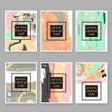 Moderne Hipster-reeks artistieke kaarten, affiches, aanplakbiljetten, vliegers, uitnodigingen In achtergrond met hand getrokken e stock illustratie