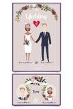 Moderne Hochzeitsillustration der Mischehe Glückliche Paarholdinghände lizenzfreie stockfotografie