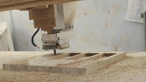 Moderne Holzbearbeitungsmaschine mit CNC, stock footage
