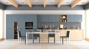 Moderne houten en blauwe keuken Stock Foto's