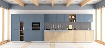 Moderne houten en purpere keuken Stock Afbeelding