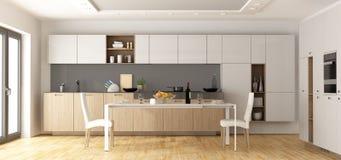 Moderne houten en witte keuken Stock Afbeelding