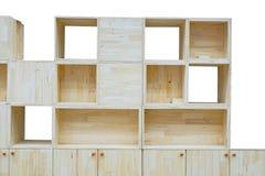 Moderne houten kast en lege doos voor gezet voorwerp Royalty-vrije Stock Foto's