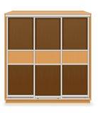 Moderne houten meubilairgarderobe met schuifdeuren vectorillus Royalty-vrije Stock Fotografie