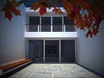 Moderne huisbinnenplaats Stock Foto